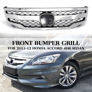 For 2011 2012 Honda Accord 4dr Sedan Front Bumper Hood Honeycomb Grille Grill