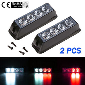2x Red white 4 Led Car Truck Emergency Beacon Warning Hazard Flash Strobe Lights