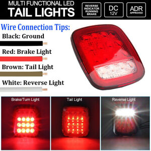 2x Square Stop Turn Tail Backup 16 Led Marker Light For Trailer Jeep Semi Truck