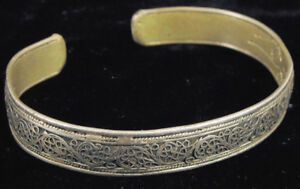 Antique Chinese Export Silver Fine Filigree Cuff Bracelet W Etched Dragon Inside