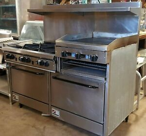 Southbend 60 Raised Griddle Commercial Restaurant 6 Burner Radiant Broiler Oven