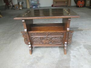 Antique Oak Carved Grapes Leaves End Magazine Table Angelus Furniture Co