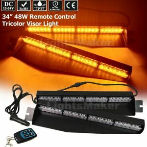 34 Led Red White Amber Remote Control Tricolor Visor Emergency Strobe Light Bar