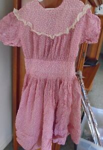 Sweet Antique Handmade Pink Floral Calico Teen Girls Dress Textile Acorns