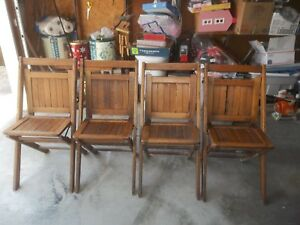 Vintage Antique Wooden Slat Seat Back Folding Chairs Lot Of 4