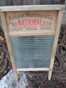 Vtg National Washboard Antique Worth Advertising Sign Wood Metal Farmhouse