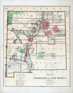 1876 Department Interior Map Territory New Mexico Geographical Political 3