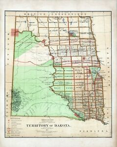 1876 Department Interior Map Territory Dakota Geographical Political 8