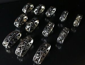 12 Vintage Silver Plated Filigree Napkin Rings Elegant Hollywood Regency