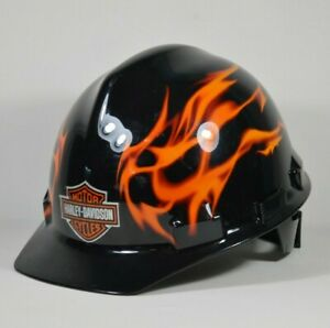 Harley Davidson Motorcycle Construction Safety Hard Hat Flames Ansi Certified