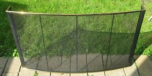 Large Vintage Modern Brass Steel Mesh Free Standing Fire Place Screen 30 H 51 W