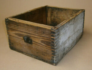 Early Antique Dovetail Wood Storage Box Primitive Old Chippy White Paint Handle