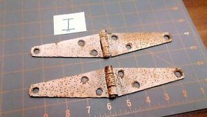 Pair Strap Hinges Old White Rustic Patina For Barn Gate Or Shed Door Vtg No I