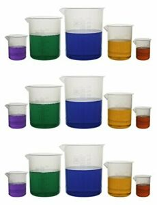 Autoclavable Classroom Laboratory Plastic Beaker In 50ml To 1000ml Set 15ct