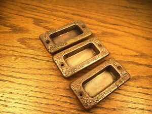 3 Old Stamped Brass Bronze Window Sash Lifts Pulls Ornate