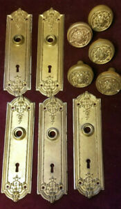 Victorian Era Architectural Salvage Door Knobs Face Plates
