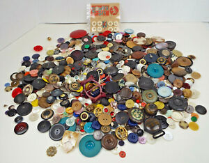 Vintage Button Collection Unsearched Estate Lot Buckles Thimbles Sold As Found