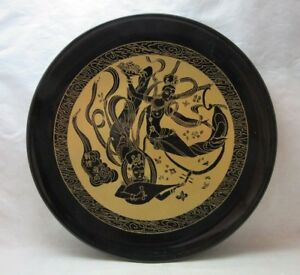 Vintage Black Gold Plastic Lacquer Japanese Plate Dancing Goddess Ladies