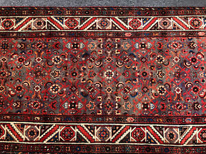 3x14 Hand Knotted Wool Runner Persian Rug Antique Oriental Brown Rust Geometric