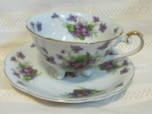 Lefton Footed Tea Cup And Saucer White With Hand Painted Violets Gold Trim