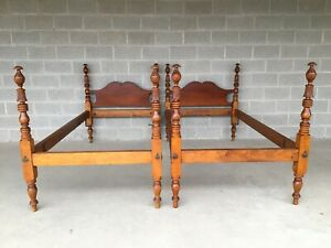 Antique Hand Carved Maple Chippendale Style Twin Poster Beds A Pair