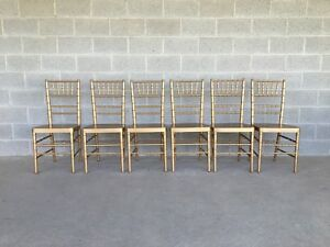 Hollywood Regency Set Of 6 Faux Bamboo Gold Wooden Side Chairs