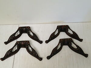 4 Matching Carved Mahogany Corner Brackets Trim
