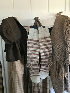 Aafa Early Primitive Americana Prairie Farm Wifes Knit Brown Stockings Peg Rack