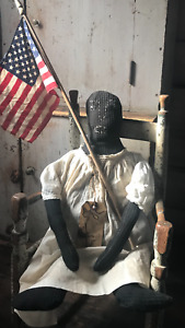 Early Primitive Folk Art Inspired Homespun Americana Black Rag Doll N Early Flag