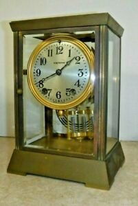 Antique Seth Thomas Empire 302 Chime Clock 8 Day Crystal Regulator Working W Key