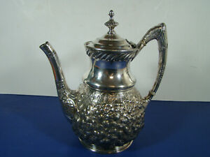 19th C Victorian Reed Barton Hi Relief Repousse Coffee