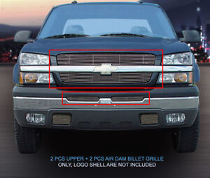 Billet Grille Front Combo Grill Fits 2003 2005 Chevy Silverado 1500 2500 3500