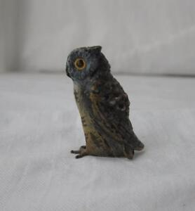 Austrian Vienna Bronze Owl Bird Bergmann Antique Miniature Cold Painted