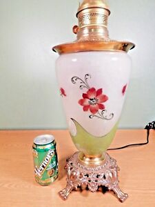 Tall Hand Painted Art Nouveau Glass Oil Lamp Electrified
