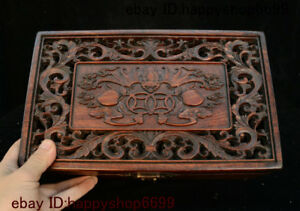 12 Chinese Huang Huali Wood Bat Flower Pattern Storage Jewelry Chest Box Statue