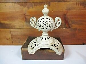 Antique Vintage Ivory Cast Iron Wood Burning Stove Top Finial Steampunk Part