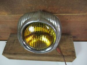 Vintage Electroline 54 Fog Driving Light Lamp Art Deco Rat Rod 32 Ford Amber Che