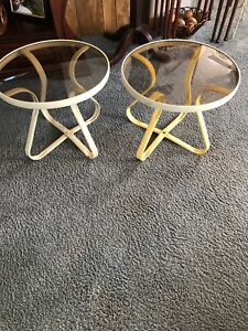 Mid Century Pair Metal 20 Round Patio Tables With Smoked Glass Tops