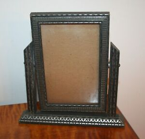 Vintage Art Deco Swing Easel Wooden Picture Frame W Glass 3 1 2 X 5 1 2 Silver