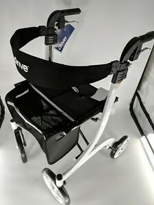 Drive Medical Nitro Adjustable Euro Style Tall Rollator Mobility Walker White