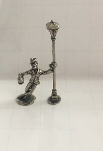 Miniature Vintage Sterling Silver Figurine Man With A Bottle