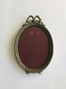 Antique Vintage Victorian Oval 5 Picture Frame Gold Ornate Ribbon Bow Italy