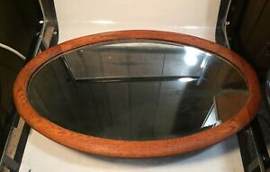 Antique Vintage 26 Wood Oval Wall Mirror Hanging