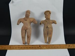 Two Anthropomorphic Pre Columbian Chupicuaro Style Mexican Clay Tomb Figures