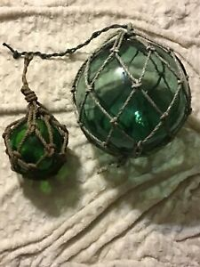 2 Antique Japanese Glass Fishing Buoy Ball Floats With Rope