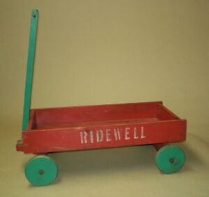 Antique Little Red Wagon Vintage Pull Toy Wood Cart Bear Doll Display Ridewell