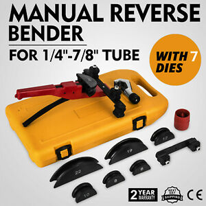 Multi Manual Pipe Tube Bender Tool Kit 1 4 7 8 With 7 Dies Steel Top Copper