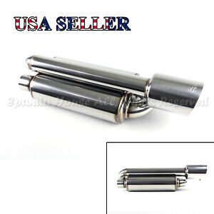 For Euro Car 1x Twin Loop Canister Style Deep Tone Sport Exhaust Muffler 4 Tip