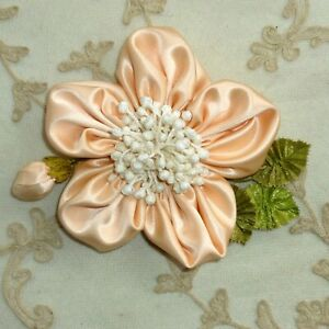 Silk Satin Ribbon Work Petaled Flower With Antique Ribbon