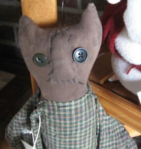 Handmade 25 Painted Primitive Fabric Brown Kitty Cat Doll